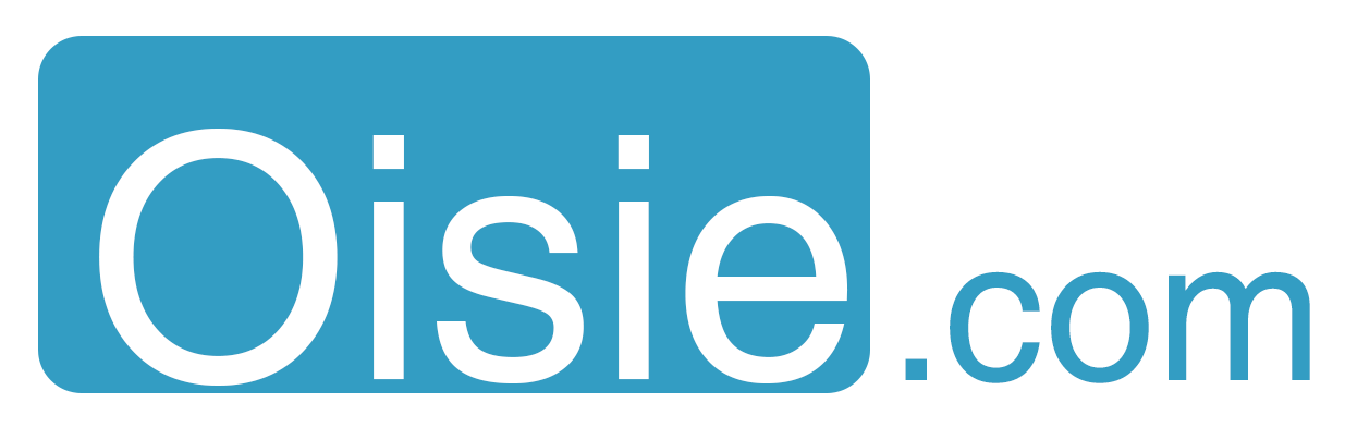 Oisie.com logo Large rectangle. Inverted colors.