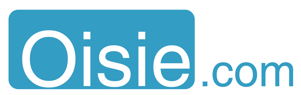 Oisie.com logo Large rectangle. Transparent. Inverted colors.