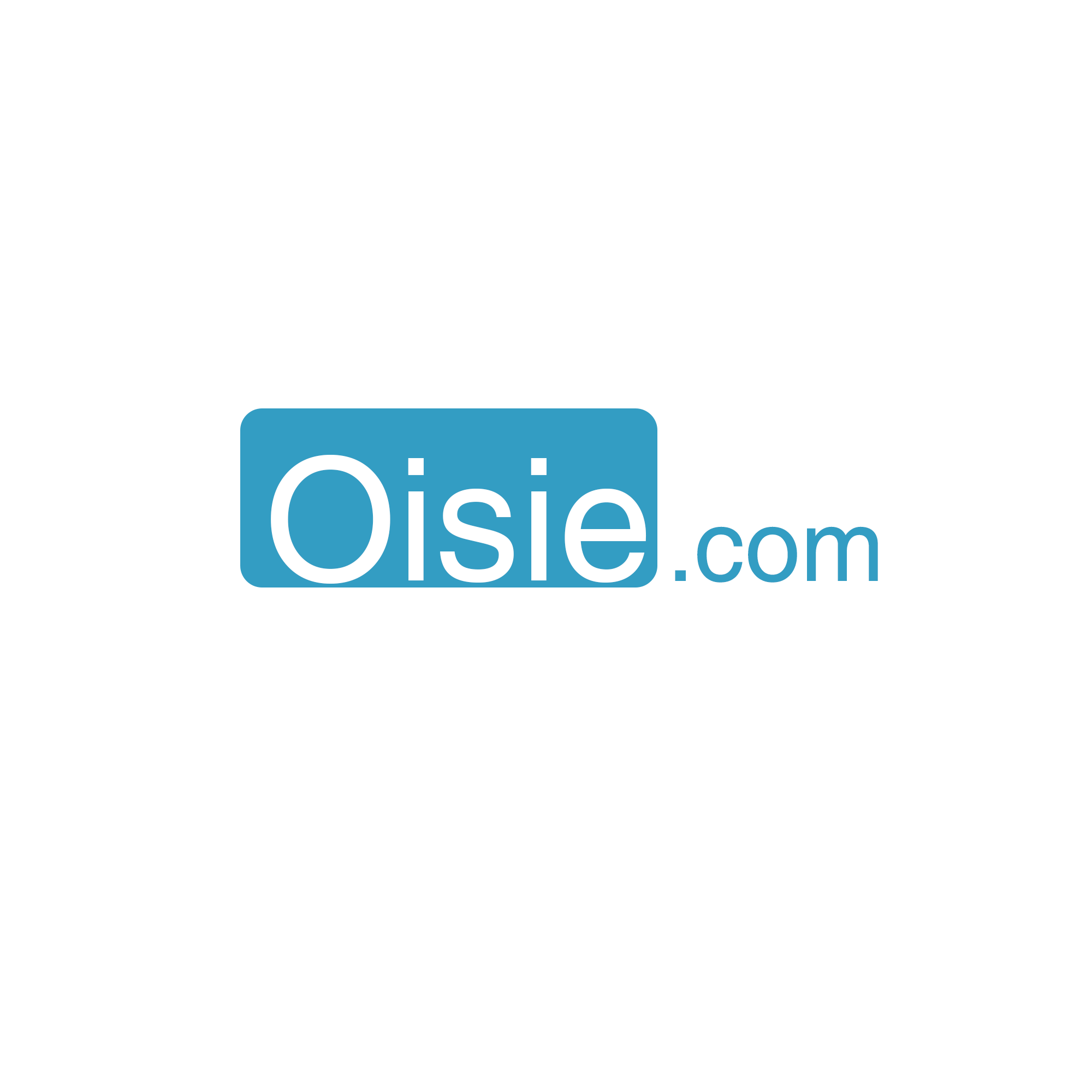 Oisie.com logo Large square. Inverted colors.